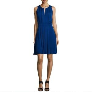 Michael Kors Sapphire Pleated Silk Dress